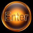 Enter icon gold, isolated on black background. — 图库照片