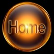 Home icon gold, isolated on black background. — 图库照片