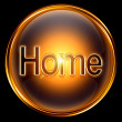 Home icon gold, isolated on black background. — Stock Photo