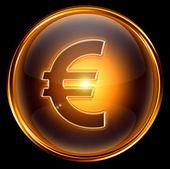 Euro icon gold, isolated on black background. — Stock Photo