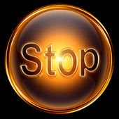 Stop icon gold, isolated on black background — Stock Photo