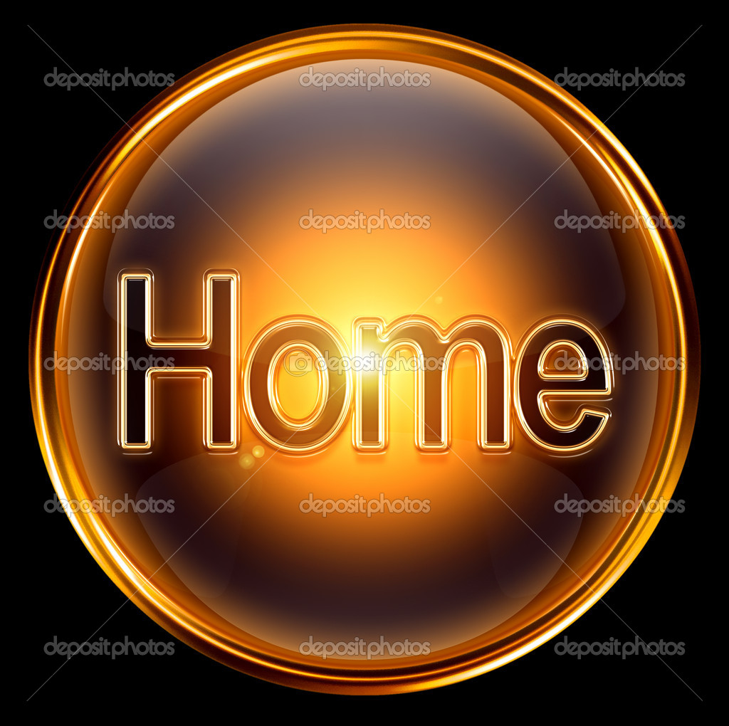 Home icon gold, isolated on black background. — Stock Photo #5088242