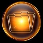 Folder icon gold, isolated on black background — Stock Photo