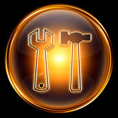 Tools icon gold, isolated on black background — Stock Photo