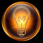 Bulb icon gold, isolated on black background — Stock Photo