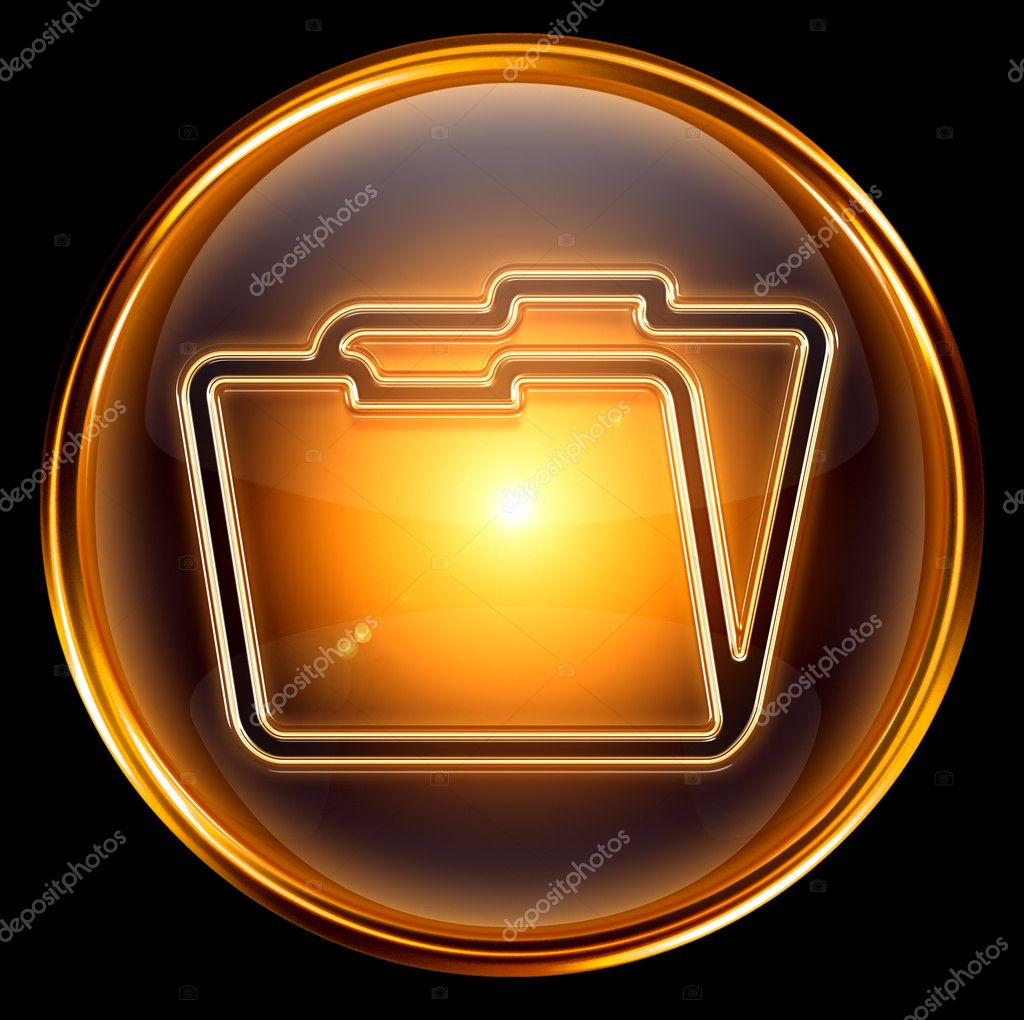 Folder icon gold, isolated on black background — Stock Photo #5110184
