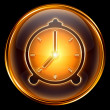 Clock icon gold, isolated on black background - Stock Photo