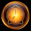 Clock icon gold, isolated on black background — Stock Photo