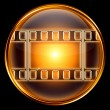Stock Photo: Video icon gold, isolated on black background