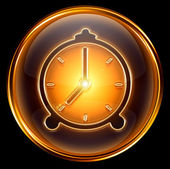 Clock icon gold, isolated on black background — 图库照片
