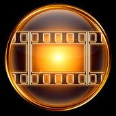 ビデオ アイコンの金、黒の背景に分離 — ストック写真