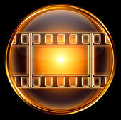 Video icon gold, isolated on black background — ストック写真