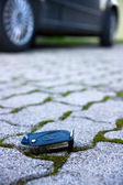 Key from the car and a charm. — Stock Photo