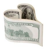 Money valentine. Money heart isolated on white background — Stock Photo