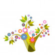 Abstract tree with flowers — Stock Vector