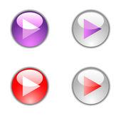 Tocar botones brillante redondo vector. — Vector de stock