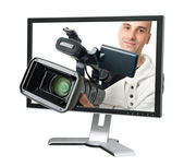 Cameraman in a computer monitor — Stock Photo