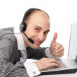Customer services man with his laptop computer — Stock Photo #4177089