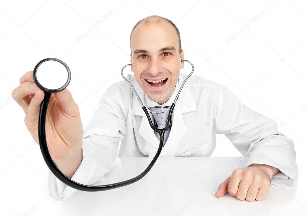 Smiling medical doctor with stethoscope. Isolated over white background — Foto Stock #4210607