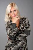 Blonde business woman thinking — Stock Photo