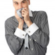 Worried business man holding his hands to mouth — Stock Photo