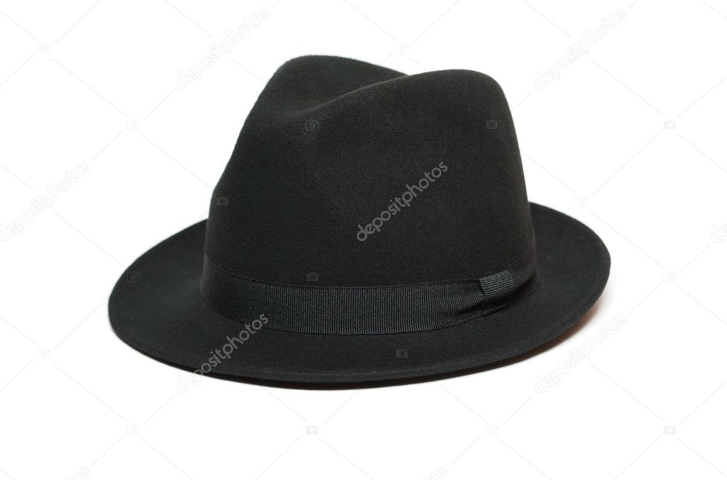 Black felt hat isolated on white background  Stock Photo #4663870