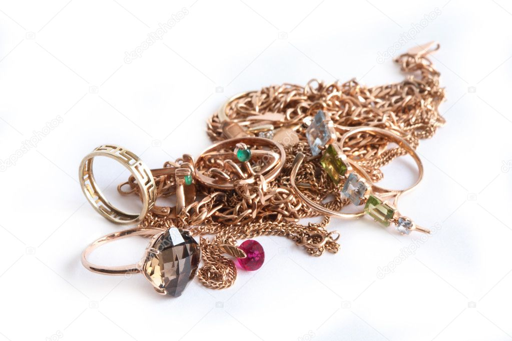 Pile of gold jewelry isolated on white background  Stok fotoraf #4776929