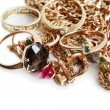 Gold Jewelry On White - Foto Stock