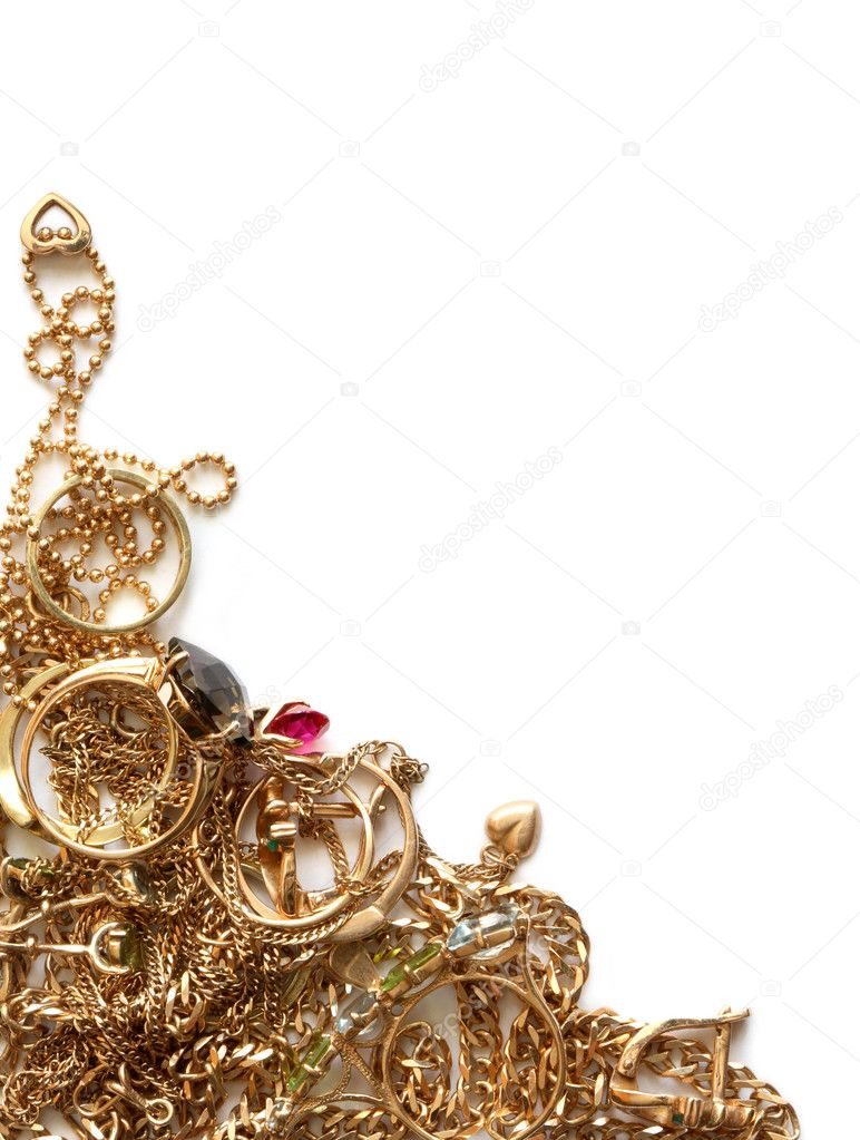 Pile of gold jewelry isolated on white background — Stock Photo #4834602