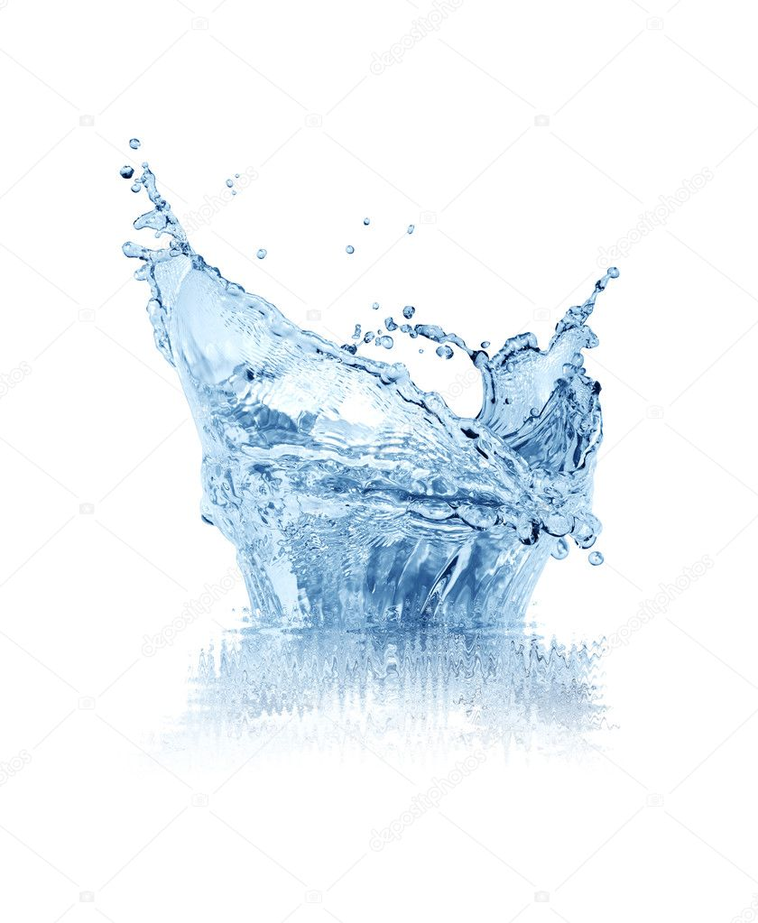 Abstract blue splashing water isolated on white background with clipping path  Stock Photo #5074807
