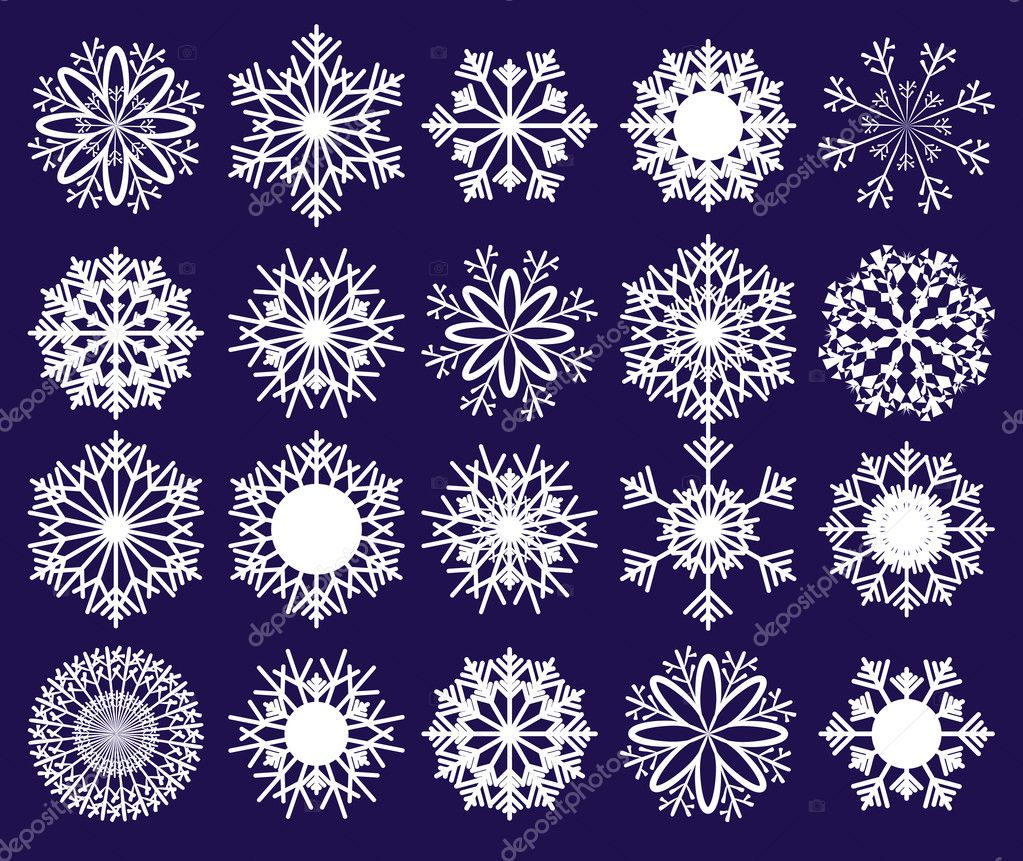 Set of snowflakes on blue background, part 2, vector illustration  Stock Vector #4256708
