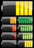 Batteria impostata su sfondo nero — Vettoriale Stock