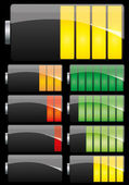 Battery set on black background — 图库矢量图片