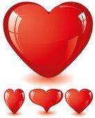 Serca czerwony świecidełka — Wektor stockowy