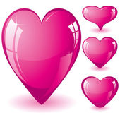 Set pink hearts — Stock Vector