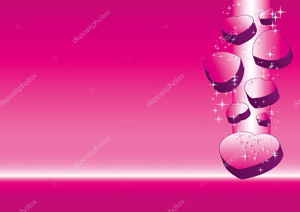 Pink valentine background with hearts, vector illustration  Stock Vector #4653299
