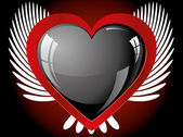 Winged glitter black heart — Wektor stockowy