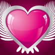 Winged glitter pink heart — Vettoriali Stock