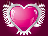 Winged glitter pink heart — Stock Vector