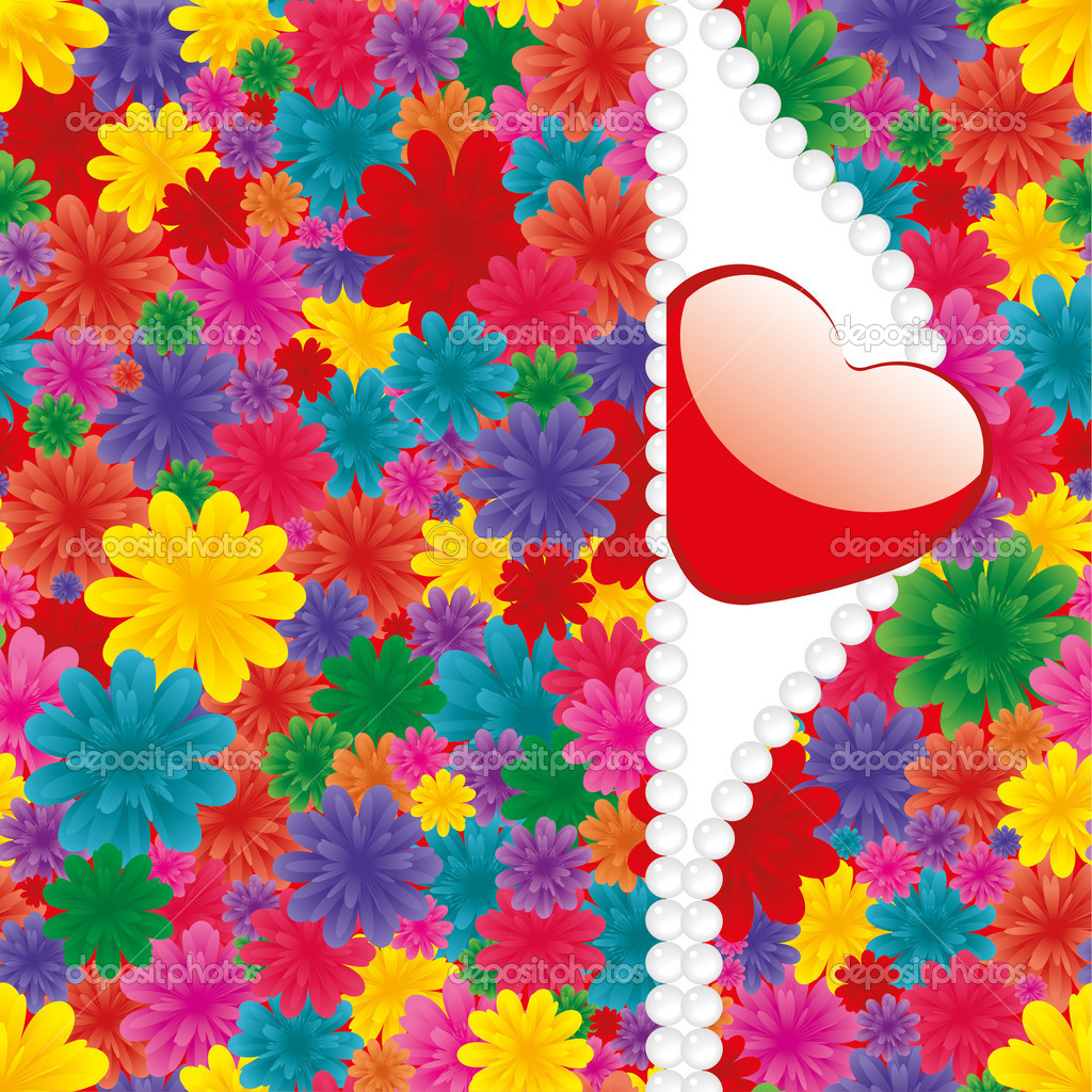 Valentine background with heart, flowers and pearl, vector illustration — Imagens vectoriais em stock #4812601