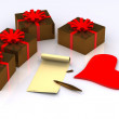 Letter and gifts — Stock Photo