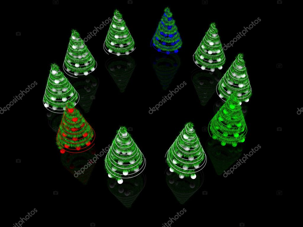 Abstract spiral Christmas trees. 3d — Stock Photo #4552168
