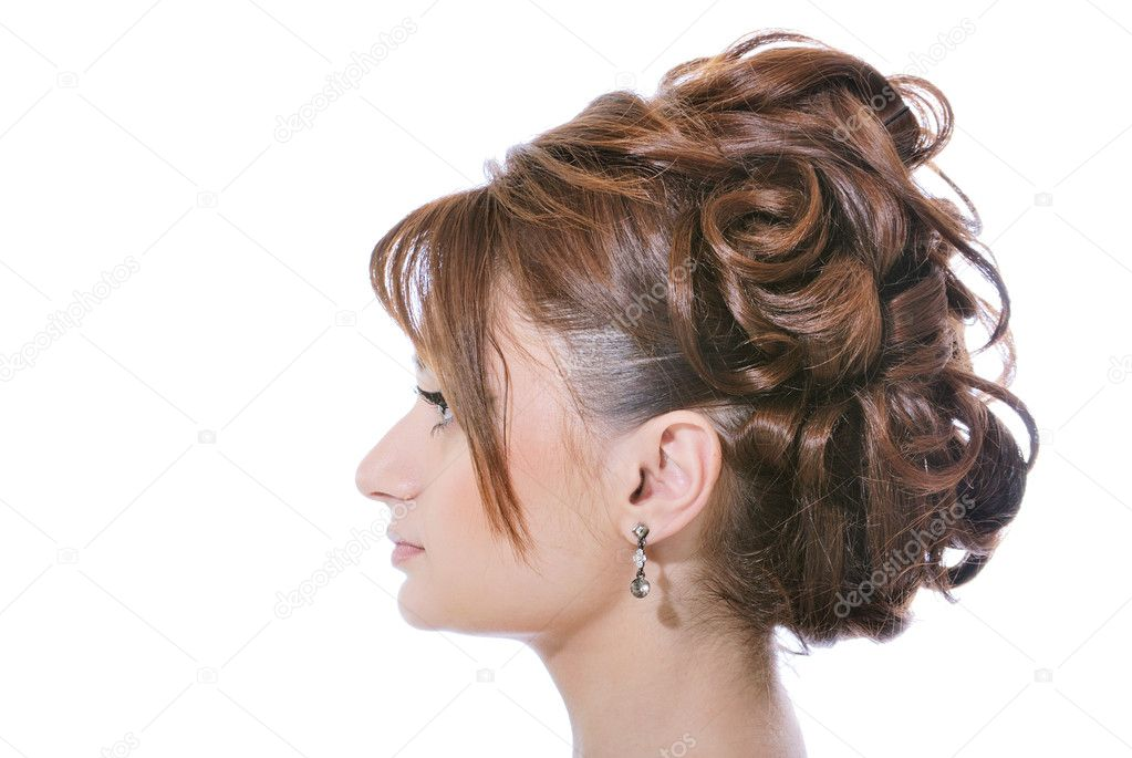 Attractive girl with hairstyle frome long hair — Stock Photo #5373630