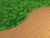 芝生との内部の寄木細工の床 — ストック写真
