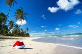 加勒比海滩上圣诞老人帽子 — 图库照片