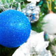 New year tree with blue balls — Stock Photo