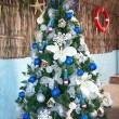 Caribbean new year tree with balls and toys — Stock Photo