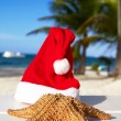 Royalty-Free Stock Photo: Santa hat and starfish on beach