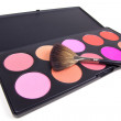 Stock fotografie: Make-up brush on eyeshadows palette