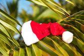 Santa hat on palm leaf on beach — Stock Photo
